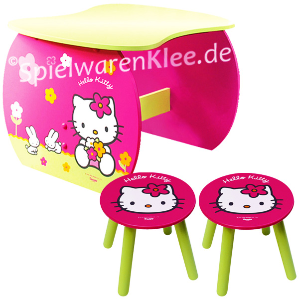 hello kitty m bel kinderm bel set 1 tisch 2 hocker. Black Bedroom Furniture Sets. Home Design Ideas