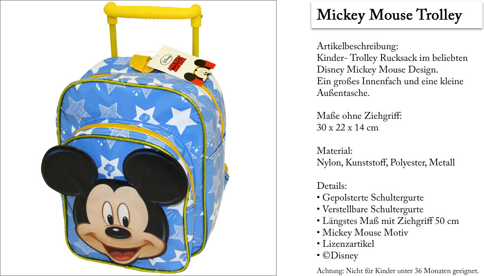 Disney Mickey Mouse Trolley Rucksack   Kinderkoffer   Kindertrolley