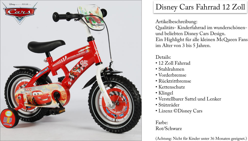 disney cars fahrrad 12 zoll kinderfahrrad kinder ab 3 j. Black Bedroom Furniture Sets. Home Design Ideas