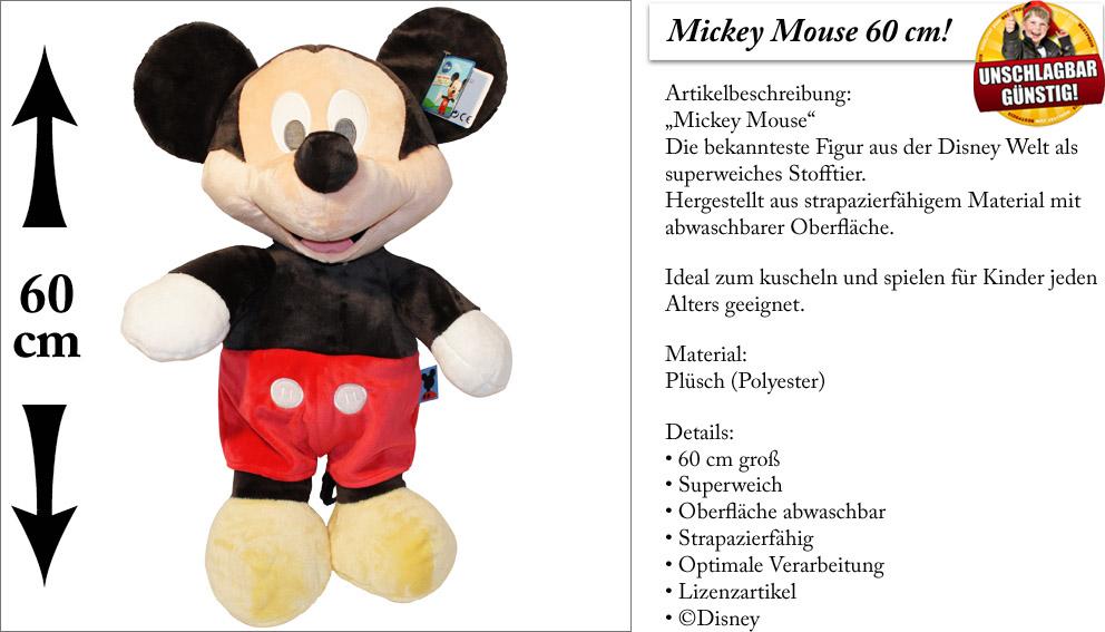 micky maus pl sch 60cm gro stofftier pl schtier. Black Bedroom Furniture Sets. Home Design Ideas